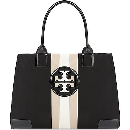 TORY BURCH Ella striped tote (Black/blush/ivory