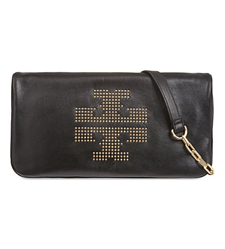 TORY BURCH Reva studded clutch (Black
