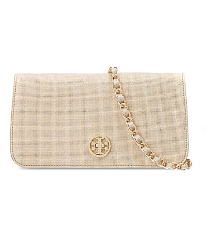 TORY BURCH Adalyn brushed metal clutch (Gold