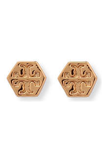 TORY BURCH Hexagon logo stud earrings