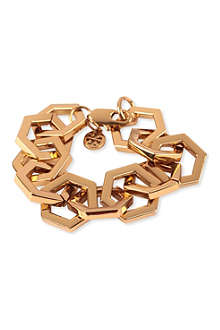 TORY BURCH Hexagon link gold-plated bracelet