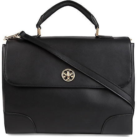TORY BURCH Robinson saffiano-leather tote (Black