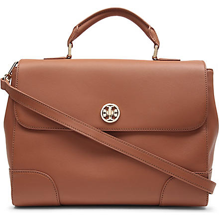 TORY BURCH Robinson saffiano-leather tote (Tan