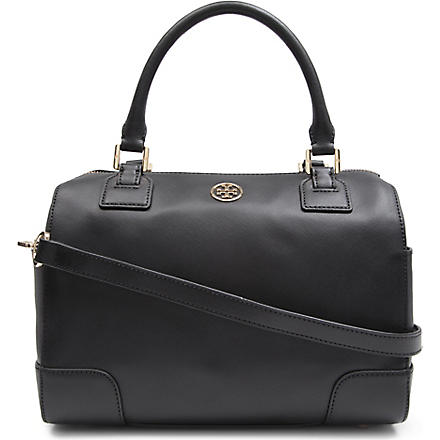 TORY BURCH Robinson middy saffiano-leather satchel (Black