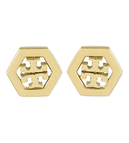 TORY BURCH Hexagon logo earrings (Shiny+gold