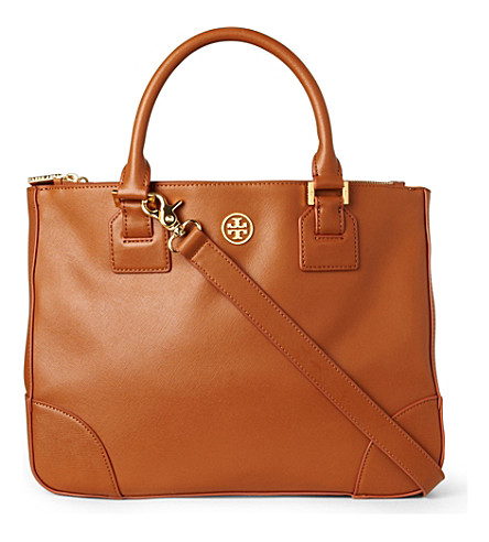TORY BURCH Robinson saffiano double-zip tote (Luggage