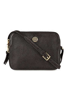 TORY BURCH Robinson pebbled leather double-zip cross-body bag