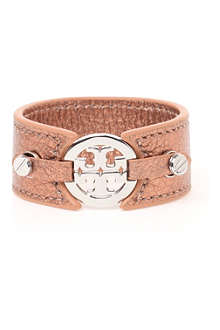 TORY BURCH Metallic logo double-snap cuff