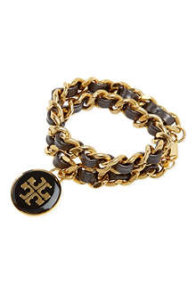 TORY BURCH Metallic leather chain bracelet