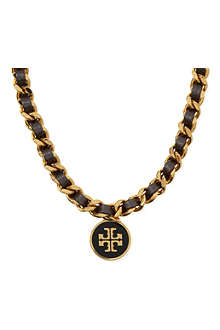 TORY BURCH Metallic leather chain necklace
