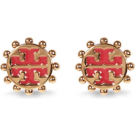 TORY BURCH Winslow logo stud earrings (Cherryamber/brass