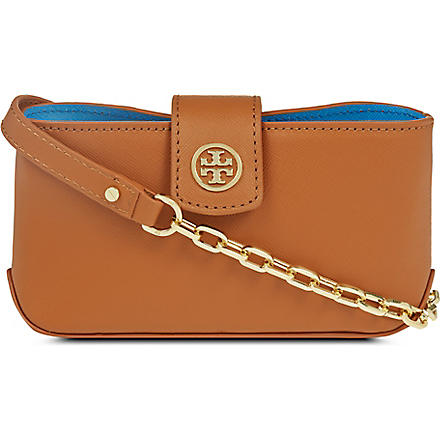TORY BURCH Robinson saffiano cross-body bag (Luggage/blue