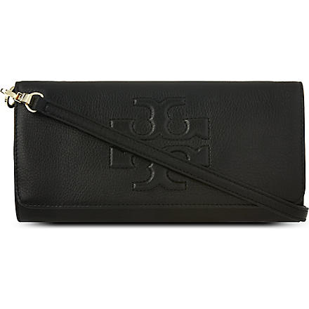 TORY BURCH Thea pebbled leather clutch (Black