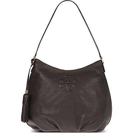 TORY BURCH Thea pebbled leather hobo shoulder bag (Black