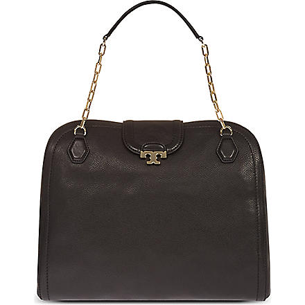 TORY BURCH Sammy pebbled leather satchel (Black
