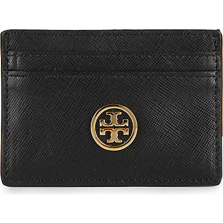 TORY BURCH Robinson slim leather card case (Black