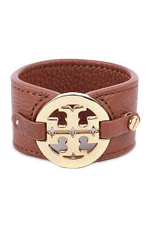 TORY BURCH Wide leather logo cuff