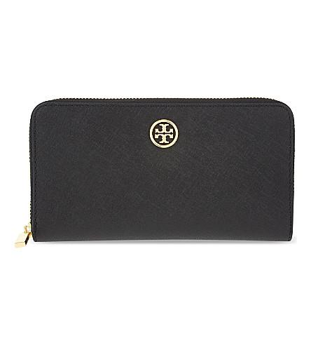 TORY BURCH Robinson zip-around leather wallet (Black