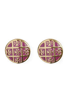 TORY BURCH Enamel T 16-carat gold-plated stud earrings