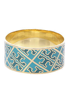 TORY BURCH Enamel T 16-carat gold-plated bangle