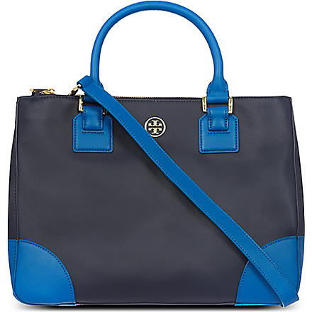 TORY BURCH Robinson saffiano leather double-zip tote (Navy/evening sky