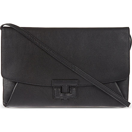 TORY BURCH Leather closure clutch (Black