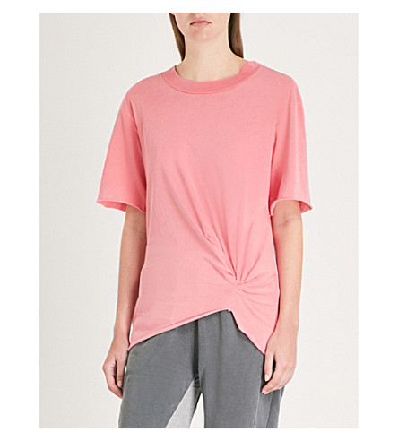 STATESIDE Knotted cotton-jersey T-shirt (Scarlet