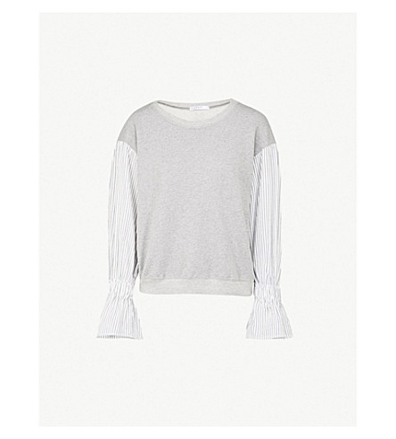 STATESIDE Striped-sleeve cotton-jersey sweatshirt (Heather+grey