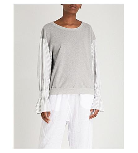 STATESIDE Striped-sleeve cotton-jersey sweatshirt (Heather+grey