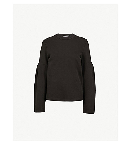 STATESIDE Flared-sleeve cotton-jersey sweatshirt (Black