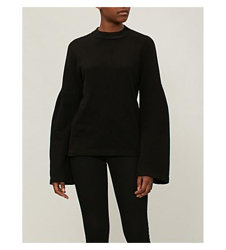 STATESIDE扩口套筒平纹针织棉卫衣 (黑色