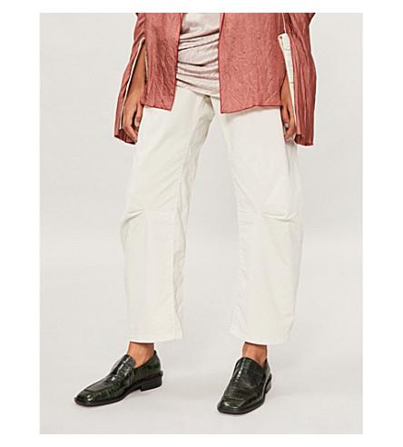 NILI LOTAN Emerson cropped straight-leg stretch-cotton trousers (Bone