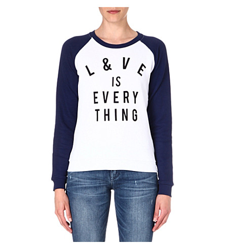ZOE KARSSEN Love is Everything jersey top (Wht/med blue