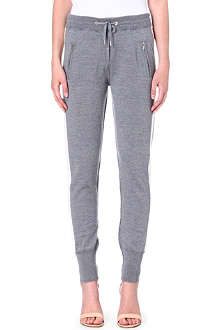 ZOE KARSSEN Contrast-panel zip-pocket wool jogging bottoms