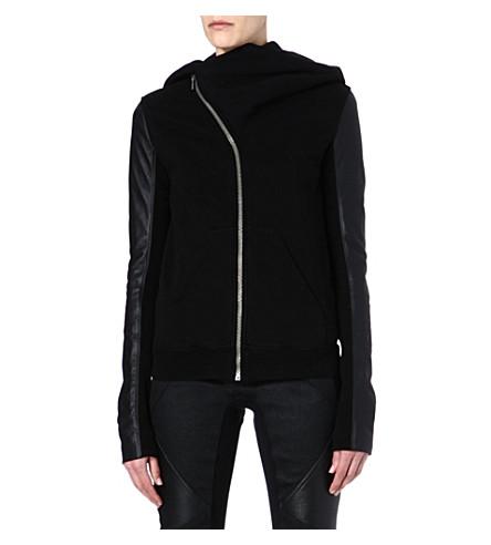 DRKSHDW Mountain leather-sleeved hoody (Black