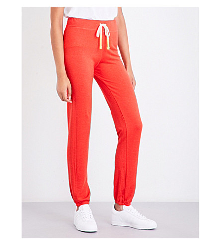 SUNDRY Slim-fit mid-rise jersey track pants (Chili