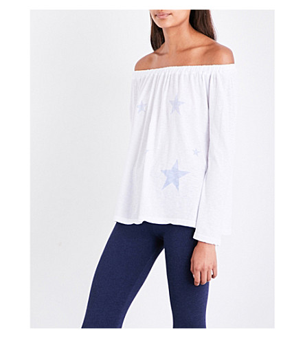 228 Star-print off-the-shoulder cotton-jersey top (White