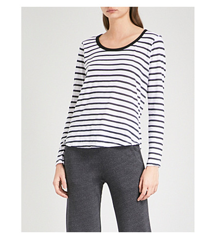 SUNDRY Ringer striped cotton-jersey top (White
