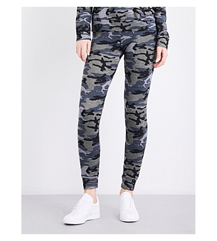 SUNDRY Camouflage-print skinny jersey jogging bottoms (Heather grey