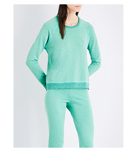 SUNDRY Contrast-trims stretch sweatshirt (Heather+kiwi