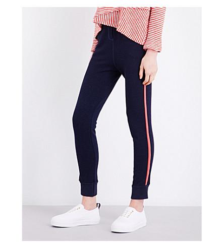 SUNDRY Contrast stripe skinny jersey jogging bottoms (Navy