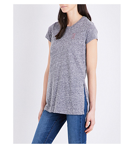 SUNDRY Oh la la cotton-blend T-shirt (Heather+grey