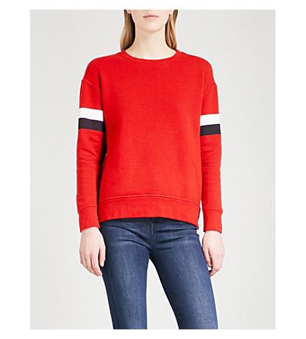 SUNDRY Double zip cotton-jersey sweatshirt (Red