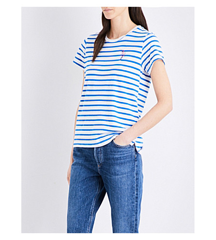 SUNDRY Flamingo-embroidered striped cotton-jersey T-shirt (Sky+blue+/+white