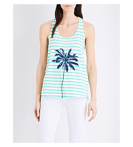SUNDRY Palm-print striped cotton-jersey vest top (Green+/+white
