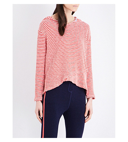 SUNDRY Striped cotton hoody (Red+stripes