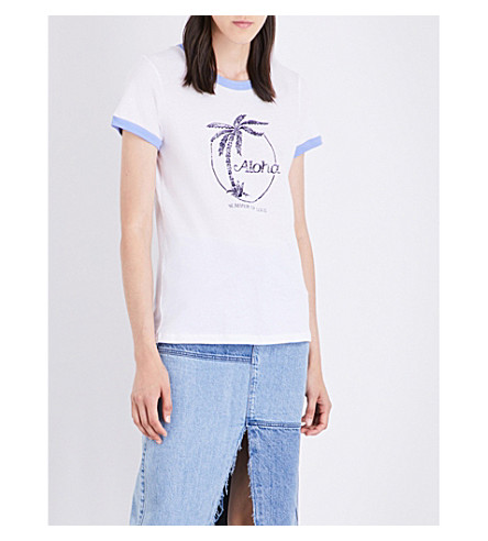 SUNDRY Aloha Ringer cotton-jersey T-shirt (White+/+pacific