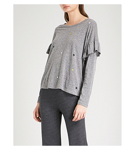 SUNDRY Star-embroidered ruffled jersey top (Heather+grey