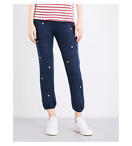 43 Embroidered-star skinny jogging bottoms (Navy