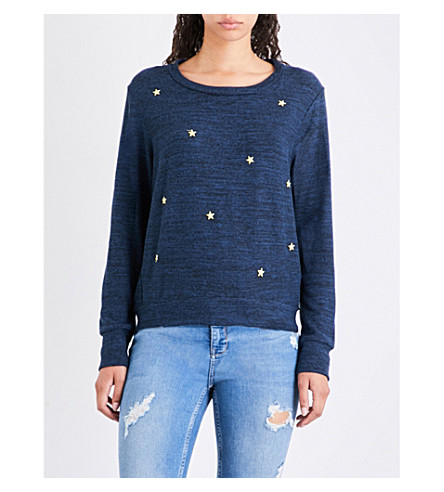 SUNDRY Star-embroidered fleece sweatshirt (Navy